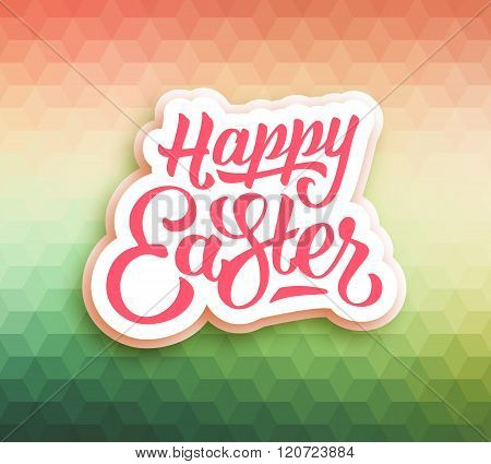Happy Easter greeting card with triangles