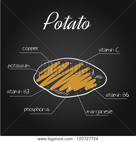 Vector Illustration Of Nutrients List For Potato On Chalkboard Backdrop