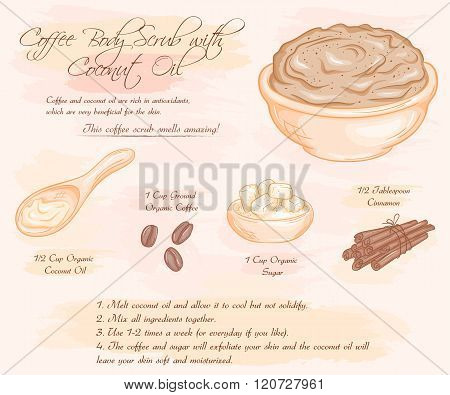 Vector Hand Drawn Illustration Of Coffee Scrub With Coconut Oil Recipe