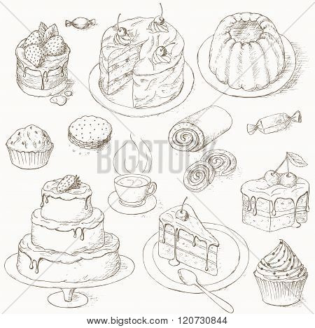Cakes, candy and sweets