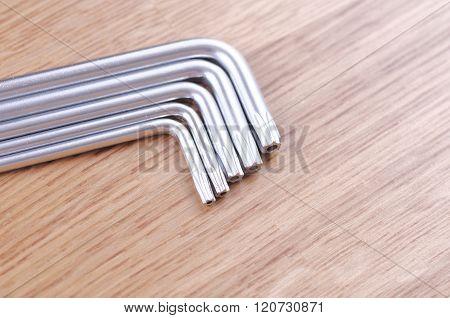 Set of torx screw drivers