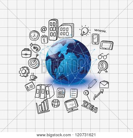 Hand-drawn Business, Global Business, Nternet Concept Of Global Business. Vector Illustration