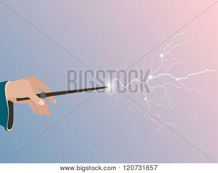 Magic wand. Magic stick in hand. Magic lightning. Rose quartz and serenity violet background. Vector illustration.