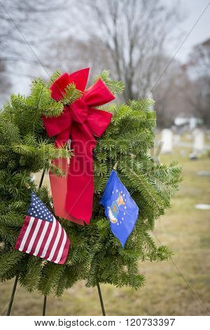 SUCCASUNNA, NJ-DEC 12, 2015: The U.S. Air Force ceremonial wreath stands between the First Presbyterian and the United Methodist Church combined cemeteries for the 2015 Wreaths Across America event.