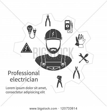 Concept Of Profession Electrician. Repair And Maintenance Of Electricity