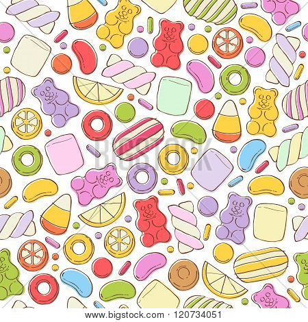 Colorful sweets pattern. Assorted candies.