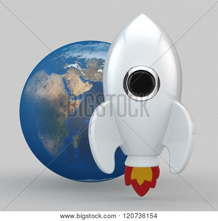 3D Render Of A Symbolic White Rocket