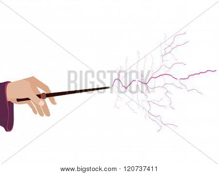 Magic Wand. Hand Holding A Wand On A White Background. Lightning Spell. Vector Illustration.