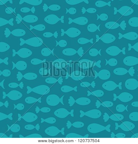 Seamless background with fishes
