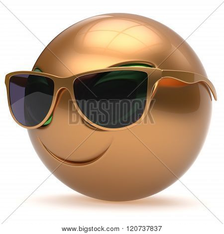 Smiley alien face sunglasses cartoon cute head emoticon monster ball golden avatar. Cheerful funny smile invader person character toy laughing eyes joy icon concept
