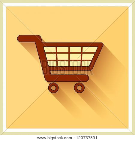 Shopping Cart Icon on Retro Yellow Background Vector