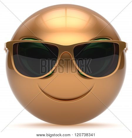 Smiley alien face cartoon cute sunglasses head emoticon monster ball golden gold avatar. Cheerful funny smile invader person character