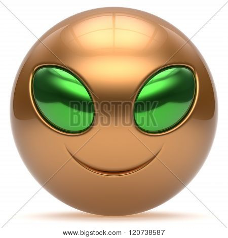 Smiley alien face cartoon cute head emoticon monster ball golden green avatar. Cheerful funny smile invader person character laughing eyes