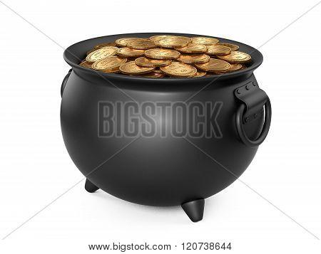 Black Pot Of Gold. Cauldron Full Of Coins.