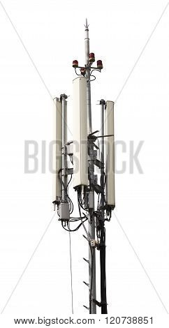 Cell Phone Antenna Tower Isolated On White