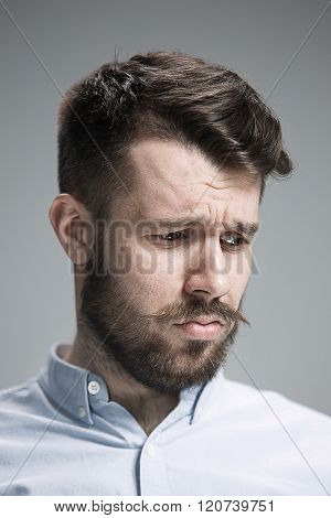 Close up face of  discouraged man