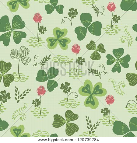 Clover And Trefoil Flowers Seamless Vector Pattern