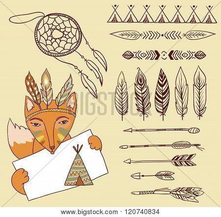 Arrows Indian elements Aztec borders and embellishments