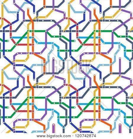 Color Metro Railway Transport Scheme On White Background. Abstract Seamless Vector Pattern. Simple M