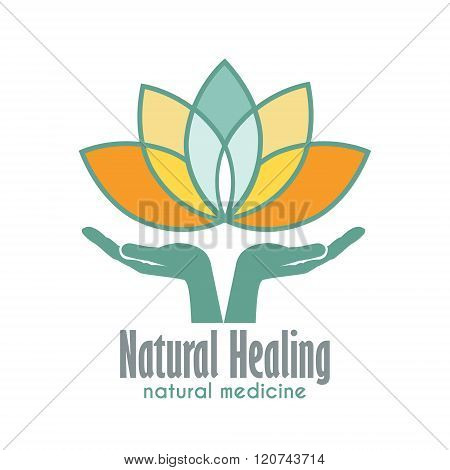 Hands Holding Lotus Flower Business Sign