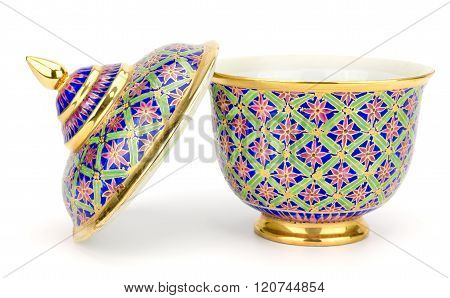 Colorful Ceramic Ware Handcraft Bowl Isolated On White Background
