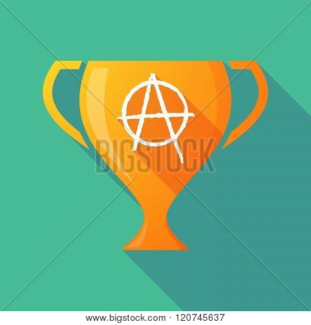 Long Shadow Trophy Icon With An Anarchy Sign