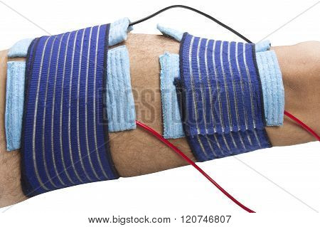 position TENS electrodes for the treatment of pain in the thigh in physical therapy poster