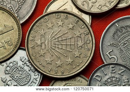 Coins of Spain. Scallop shell symbol for the pilgrimage routes Camino de Santiago depicted in the Spanish 100 peseta coin (1993). poster