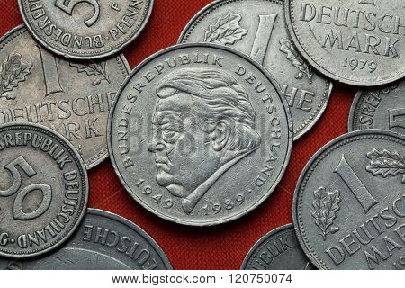 Coins of Germany. German politician Franz Josef Strauss depicted in the German two Deutsche Mark coin (1989). poster