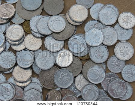 Czech korunas CZK (legal tender of the Czech Republic) coins - small change (10h and 20h) now withdrawn