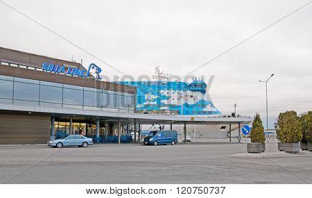 Turku. Finland. Cruise ferry near passanger terminal