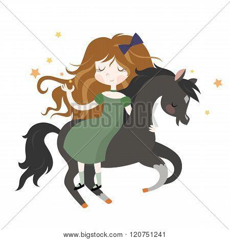 Whimsical girl on black horse