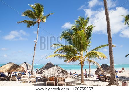 Tourists Rest Under Palms On Beach In Punta Cana