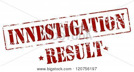 Rubber stamp with text investigation result inside vector illustration