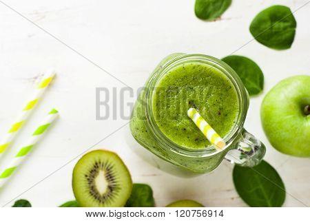 Healthy Green Smoothie In Jar.