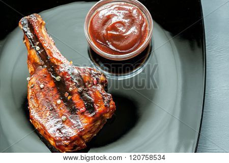 Grilled Pork Ribs On The Plate