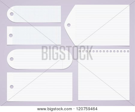 White lined and squared notebook paper, tags on light purple background