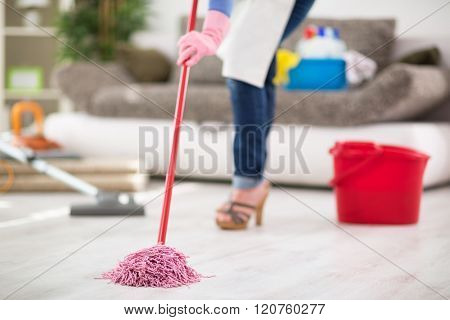 Close up of mopping floor in room