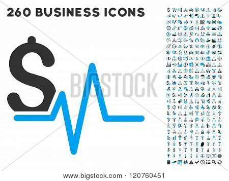 Financial Pulse Icon with Flat Glyph Set