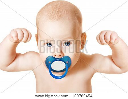 Strong Baby With Pacifier Raising Up Arms, Sport Kid, White