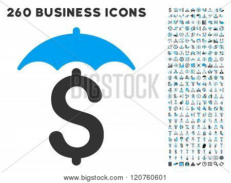 Financial Roof Icon with Flat Glyph Set