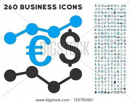 Financial Trends Icon with Flat Glyph Set