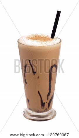 glass coffee frappe isolated
