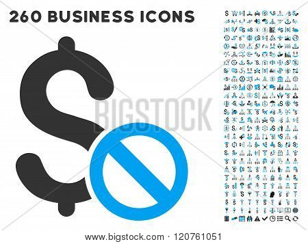 Forbidden Payment Icon with Flat Glyph Set