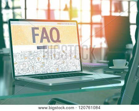 FAQ - Concept on Laptop Screen.