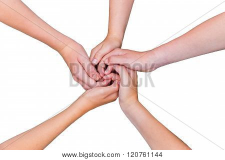 Five Teenage Arms With Hands Entangled Isolated On White Background