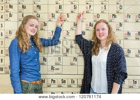 Two Female Students Pointing At Periodic Table In Chemistry Lesson