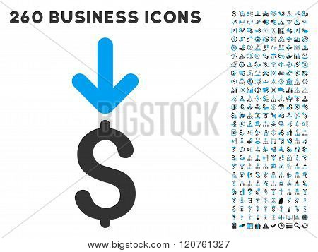 Income Dollar Icon with Flat Glyph Set