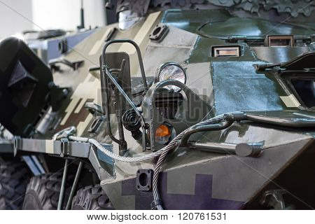 Kiev, Ukraine - September 08, 2015: Camouflaged armor and attachments armored closeup at the special