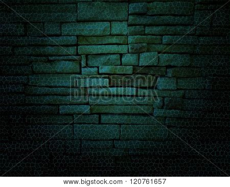 Green rustic old fashioned brick wall with string lights background